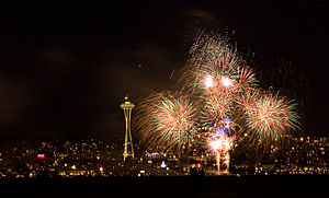 4th of July fireworks over Seattle.