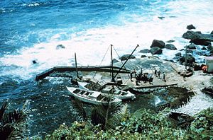 Landing on Pitcairn Island - Bounty Bay in 1970's