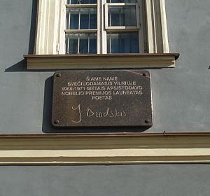 memorial tablet Joseph Brodsky in Vilnius