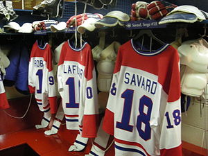 Montreal Canadiens locker room display at the ...
