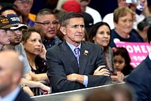 Michael T. Flynn at a Donald Trump campaign rally in Phoenix, Arizona