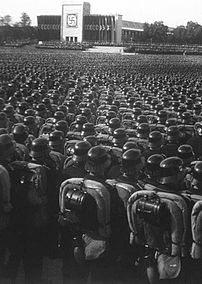 Reichsparteitag. Ubersicht Uber den grossen Appell der SA, SS und des NSKK. Overview of the mass roll call of SA, SS, and NSKK troops. Nuremberg, November 9, 1935.