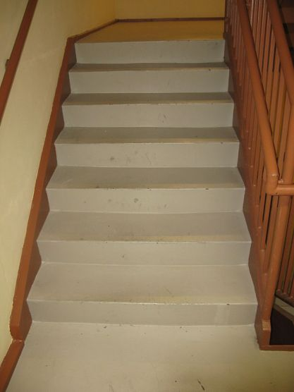 English: Short flight of stairs in the fire ex...
