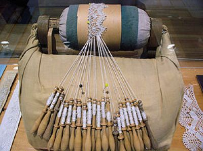 Bobbin lace in progress at the Musée des Ursul...