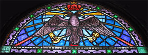 A double-headed eagle portrayed in a stained g...