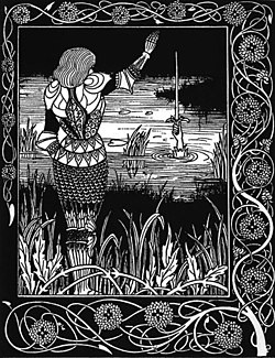 Bedivere lanzando la m�tica espada al agua. Ilustración de 1894.