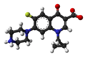Ball-and-stick model of the ciprofloxacin zwit...