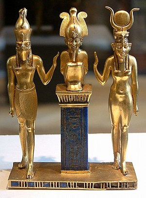 Osiris, Isis and Horus: pendant bearing the na...