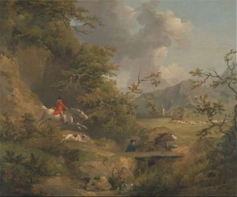 George Morland - Foxhunting in Hilly Country - Google Art Project