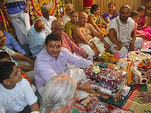 Gift giving during a South Indian wedding.