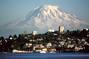 Mount Rainier over Tacoma, Washington, USA.