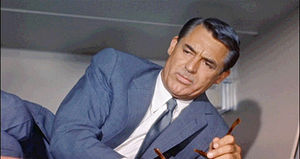Screenshot of Cary Grant in a storage compartment.