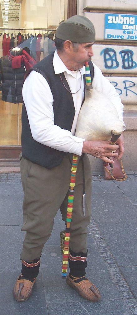 A Serbian bagpiper