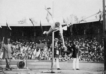 George Horine during the high jump competition...