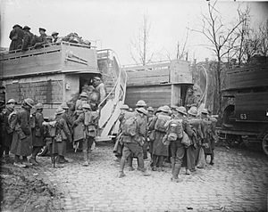 Troops embussing in Arras to go back for a res...