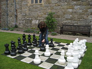 English: A giant chess set at Chirk Castle, Wr...