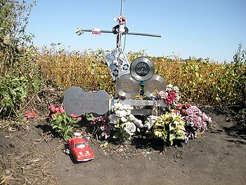 Monument at the crash site of the airplane car...