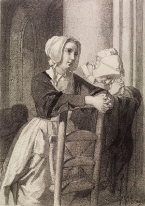 File:Jean-Baptiste Jules Trayer - Woman Praying in Church - Walters 371366.jpg