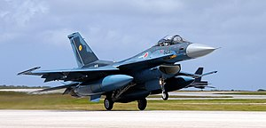 English: JASDF F-2 fighters arrive in Andersen...