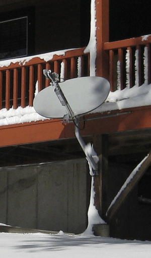Satellite Internet dish attached to a...