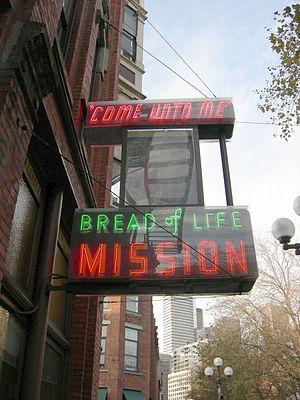 Neon sign, Bread of Life Mission, Matilda Wine...