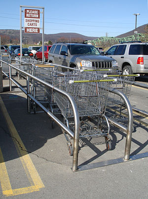 Shopping cart return on the parking lot of a W...