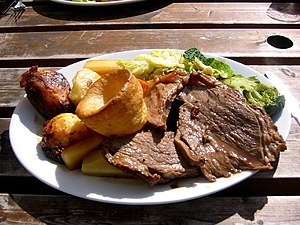 Sunday roast, consisting of roast beef, roast ...
