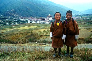 Children & Royal Palace, Thimphu, Bhutan