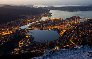 English: View of Bergen from Mount Ulriken at ...