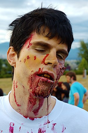 A participant at the 2005 Vancouver Zombie walk.