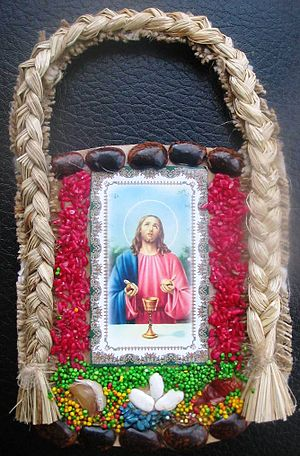 Traditional Ukrainian Christian amulet with de...