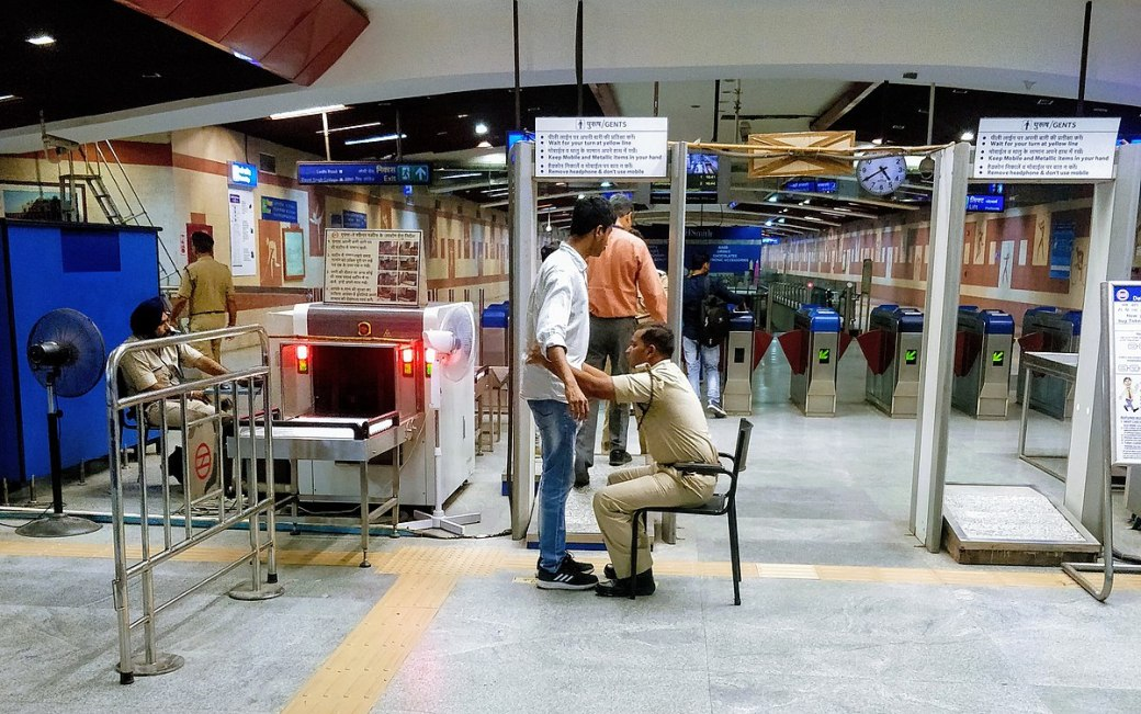 File:Double frisking by CISF personnel at JLN metro station ...