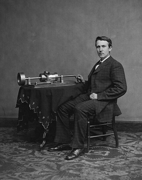 Edison with phonograph (1877)