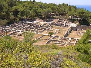 Ruins of the ancient Greek city of Kameiros, R...