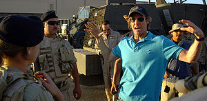 English: Movie director Michael Bay instructs ...