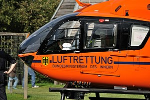 The rescue helicopter «Christoph 9», a Eurocop...