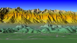 Mt. Whitney, Sierra Nevada, computer image gen...