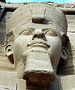 Ramesses II: one of four external seated statues at Abu Simbel