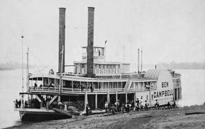 English: Ben Campbell steamship at landing, re...
