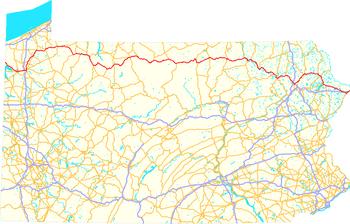 Map of U.S. Route 6 in Pennsylvania