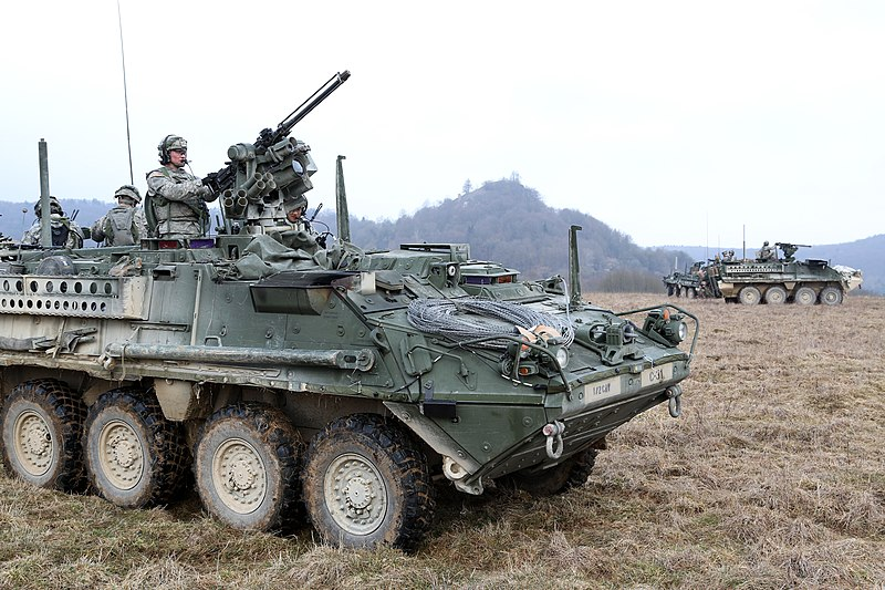 Comanche Troop, 3rd Squadron, 2nd Cavalry Regiment provide security in Stryker armored vehicles) in Hohenfels, Germany,