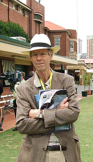 Christopher Martin-Jenkins at Adelaide Oval