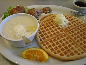 Grits, served with a waffle.