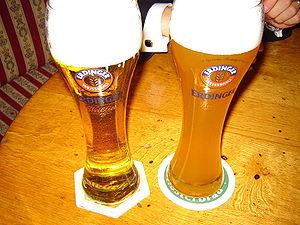 Kristallweizen (left) and Hefeweizen (right) f...