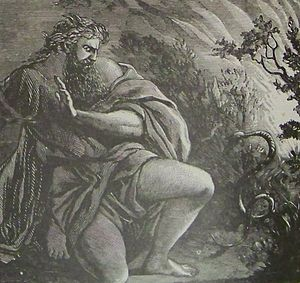 Moses' Rod Turned into a Serpent, illustration...