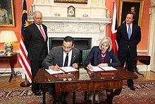 May, David Cameron and Najib Razak, 14 July 2011