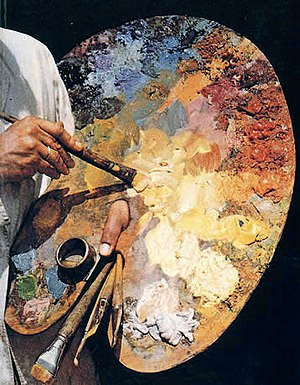 Photo of an oil painting palette. Photo taken ...