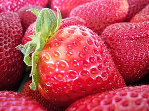 English: Strawberries at a market.