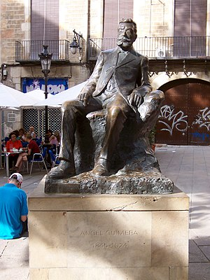 Statue of Àngel Guimerà, in Pi Square, in Barc...