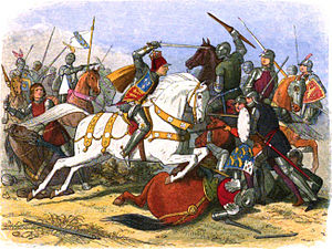 Richard III in action at the Battle of Boswort...